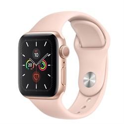 Apple Watch Series 5 GPS Gold Aluminum Case with Pink Sand Sport Band (Спортивный ремешок цвета Розовый песок)