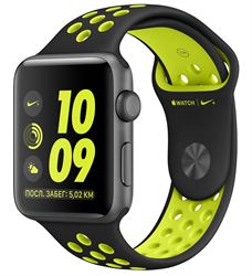 Apple Watch Nike+ 42mm Space Gray Aluminum Case with Nike Sport Band - Black / Volt (Спортивный ремешок Nike цвета «чёрный / салатовый») MP0A2