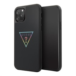 Чехол Guess Iridescent Glitter Triangle logo Hard Multicolor для iPhone 11 Pro, черный - фото 15567
