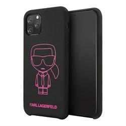 Чехол Karl Lagerfeld Liquid silicone Ikonik outlines Hard для iPhone 11 Pro Black - фото 15679