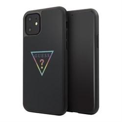 Чехол Guess Iridescent Glitter Triangle logo Hard Multicolor для iPhone 11, черный