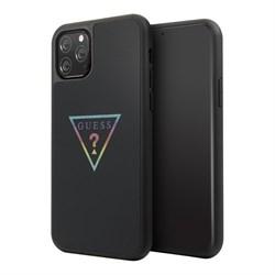 Чехол Guess Iridescent Glitter Triangle logo Hard Multicolor для iPhone 11 Pro, черный