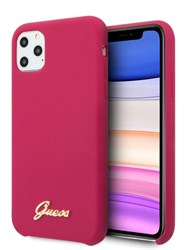 Чехол Guess для iPhone 11 Pro Silicone collection Gold metal logo Hard