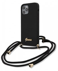 Чехол Guess для iPhone 12 Pro Max (6.7) Liquid silicone Gold metal logo Hard+Cord