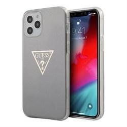 Чехол Guess Metallic effect Triangle logo Hard для iPhone 12 Pro Max, серый