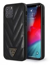 Чехол Guess Qualited V Triangle metal logo Hard PU кожа для iPhone 12 Pro Max, черный