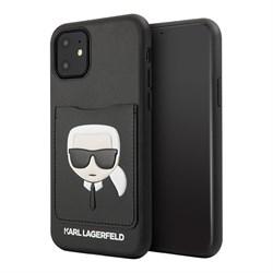 Чехол Karl Lagerfeld PU Leather Karl's Head Hard with cardslot для iPhone 11