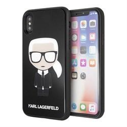 Чехол Karl Lagerfeld Double layer Iconic Karl Hard Glitter для iPhone X/XS, черный