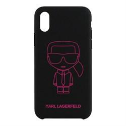 Чехол Karl Lagerfeld Liquid silicone Ikonik outlines Hard для iPhone X/XS, черный/розовый