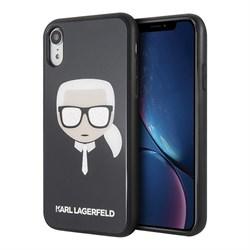Чехол Karl Lagerfeld Double layer Karl's Head Hard Glitter для iPhone XR, черный