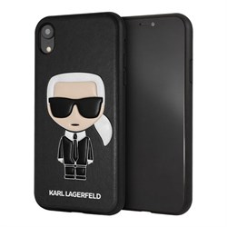 Чехол Karl Lagerfeld Leather Iconic Karl Hard для iPhone XR, черный